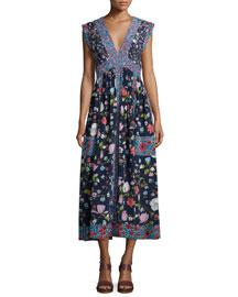 Sleeveless Tap Floral Midi Dress, Blackberry