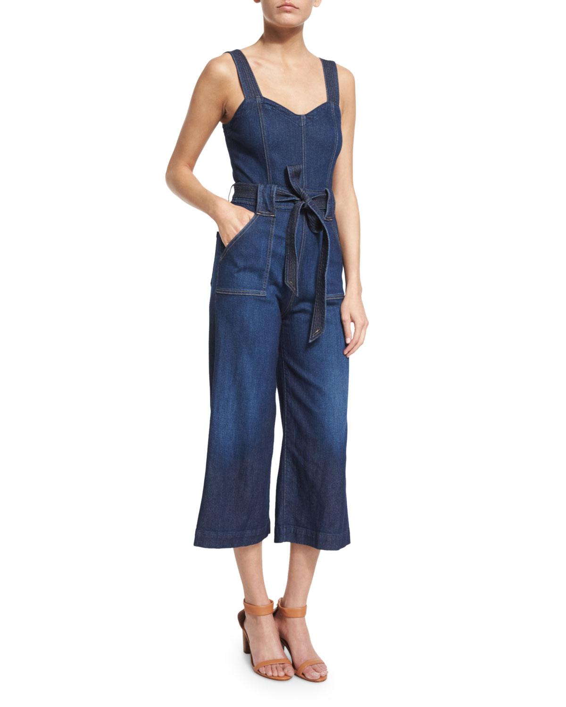 7 For All Mankind Sleeveless Wide-Leg Cropped Jumpsuit, Saint Tropez Night, Size: 25, Saint Tropez Nigh