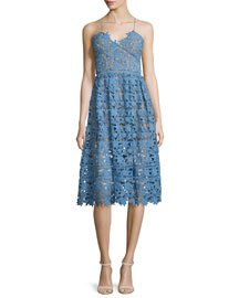 Azaelea Guipure-Lace Illusion Dress, Blue