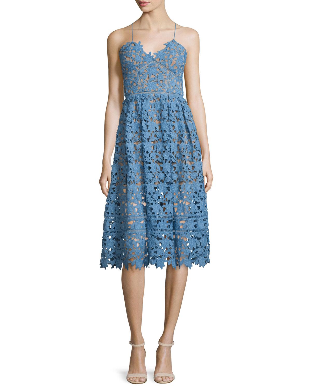 Self Portrait Azaelea Guipure-Lace Illusion Dress, Blue, Size: 2
