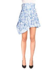 Floral Fantasy Tiered Asymmetric Skirt, Royal Blue