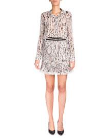 Long-Sleeve Georgette Splatter Top, White/Black
