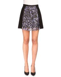 Floral-Trim Ponte A-Line Skirt, Black/Lilac