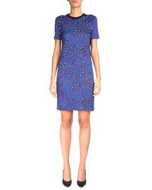 Short-Sleeve Printed T-Shirt Dress, Violet/Blue