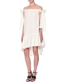 Poplin Off-the-Shoulder Shift Dress, White