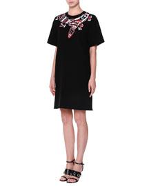 Short-Sleeve Beaded-Dragon Shift Dress, Black