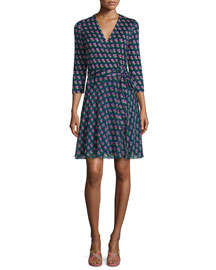 Irina Silk Zen Flora Wrap Dress, Midnight