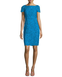 Ainsley Cap-Sleeve Lace Sheath Dress, Atlantis Blue