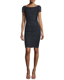 Ainsley Cap-Sleeve Lace Sheath Dress, Black