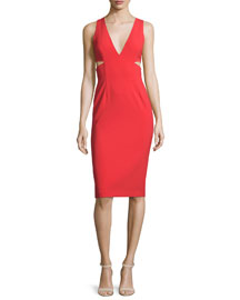 Riki Cutout Ponte Sheath Dress, Light Red