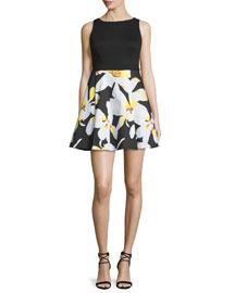 Kourtney Sleeveless Box-Pleated Combo Dress, Black/Multicolor