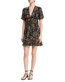 Aerona Floral Fit-and-Flare Dress, Black/Multicolor