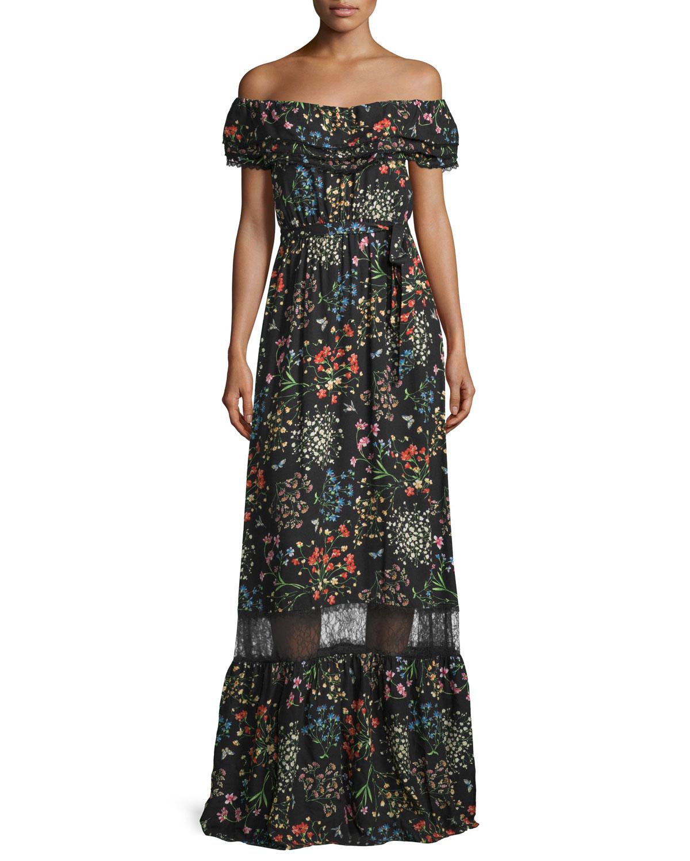 Alice + Olivia Cheri Off-the-Shoulder Floral Maxi Dress, Black/Multicolor, Size: 0, Multi Colors