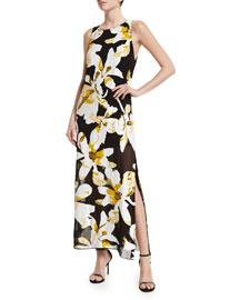 Lucia Floral Maxi Dress, Black/Multicolor