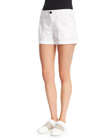 Patch Mid-Rise Shorts, Optic White