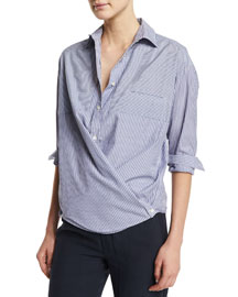 Striped Crossover Button-Down Popover Top