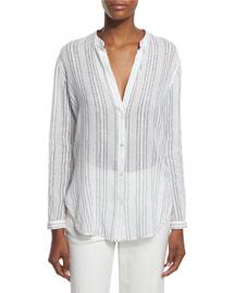 Striped Split-Neck Button-Down Shirt