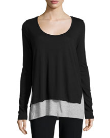 Double-Layer Colorblock Long-Sleeve Tee