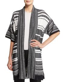 Multi-Stripe Open Cardigan