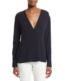 Long-Sleeve Woven Surplice Top, Navy