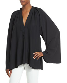 Shirred Silk-Blend Oversized Top, Black