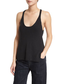 Ribbed Cotton Racerback Tank, Black
