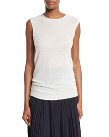 Sleeveless Mesh Raw-Edge Cashmere Tee, Ivory