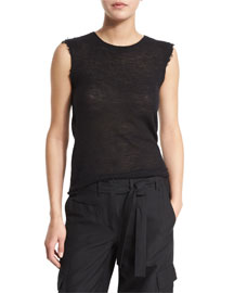 Sleeveless Mesh Raw-Edge Cashmere Tee, Black