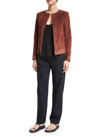 Brushed Suede Snap-Front Jacket, Spice