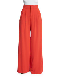 Eloise Straight Wide-Leg Pants, Poppy