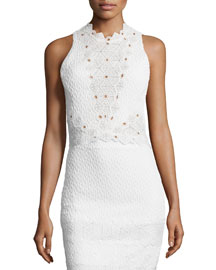 Sleeveless Textured Lace-Trim Top, Snow