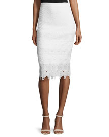 Textured Lace-Trim Pencil Skirt, Snow