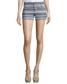 Striped Multipattern Cady Shorts, Blue/White