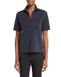 Short-Sleeve Scuba Polo Shirt, Navy