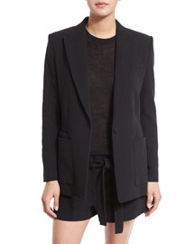 Double-Weave Cotton Single-Button Blazer, Black