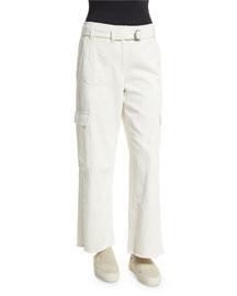 Cropped Oversized Twill Cargo Pants, Ivory