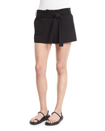 Double-Weave Cotton Belted Shorts, Black