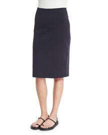 Scuba High-Waist Pencil Skirt, Navy