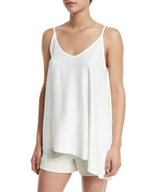 Crepe Draped-Side Tank, Ivory