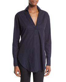 Long-Sleeve Cotton Lawn Tunic, Midnight Navy
