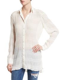 Marlee Long-Sleeve Shirred Top, Cream