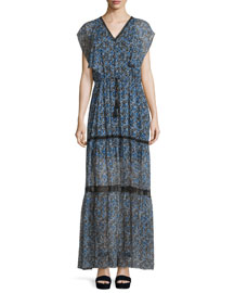 Sanna Drawstring-Waist Tiered Maxi Dress