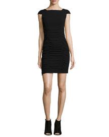 Cap-Sleeve Ruched Sheath Dress, Black