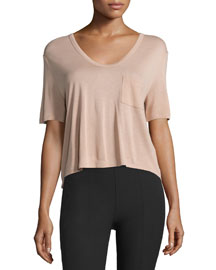 Classic Cropped Tee w/ Pocket, Blush