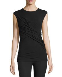 Twist-Front Stretch Jersey Tee, Black