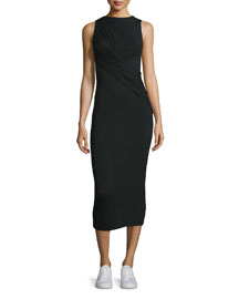 Twist-Front Stretch Jersey Midi Dress, Black