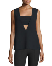 Sleeveless Crepe Bandeau Top, Black