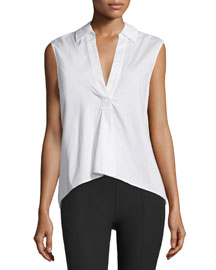 Sleeveless Poplin Pullover Top, White