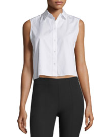 Cropped Boxy Poplin Top, White