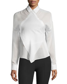 Long-Sleeve Silk Georgette Apron Top, Off White
